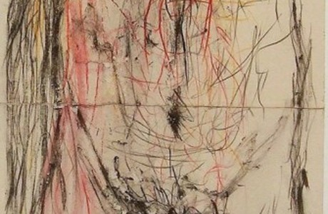 Untitled, 2014, ink and colored pencils on paper, 141x39 cm.
