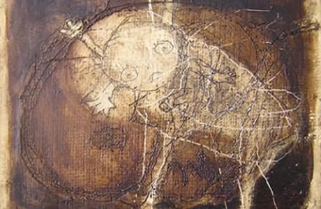 Untitled, mixed media on masonite, 26x32 cm.