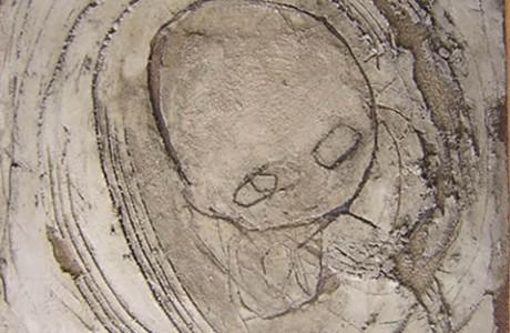 Untitled, mixed media on masonite, 32x32 cm.