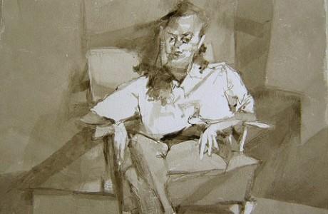 """יוסף הירש, ללא כותרת, טכניקה מעורבת על נייר, 37X27 ס""""מ."""