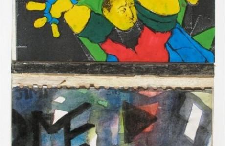 """ללא כותרת, 2012, טכניקה מעורבת על נייר, 22x15 ס""""מ."""