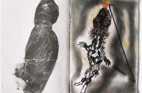 """ללא כותרת, 2012, טכניקה מעורבת על נייר, 21x30 ס""""מ."""