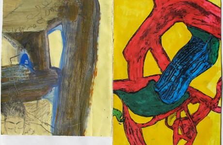 """ללא כותרת, 2012, טכניקה מעורבת על נייר, 21x29 ס""""מ."""