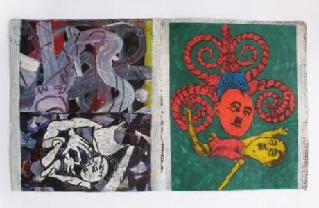 """ללא כותרת, 2012, טכניקה מעורבת על נייר, 30x51 ס""""מ."""