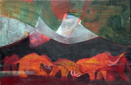 Edwin Solomon, Elephants, Oil on canvas, 41x61 cm.