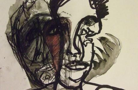 """אסף רהט, ללא כותרת, טכניקה מעורבת על נייר, 41X50 ס""""מ"""