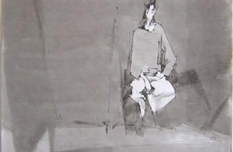 """ללא כותרת, טכניקה מעורבת על נייר, 26x35 ס""""מ."""