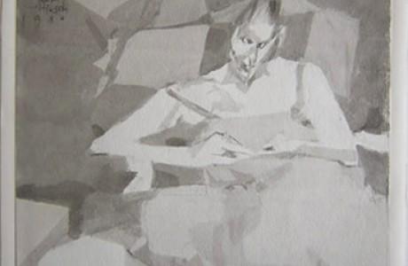 """ללא כותרת, טכניקה מעורבת על נייר, 25x28 ס""""מ."""