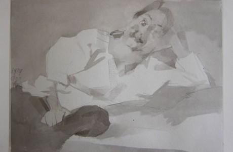 """ללא כותרת, טכניקה מעורבת על נייר, 25x34 ס""""מ."""