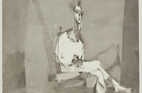 """ללא כותרת, 1995, טכניקה מעורבת על נייר, 32x25 ס""""מ"""