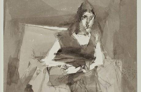 """ללא כותרת, 1989, טכניקה מעורבת על נייר, 32x36 ס""""מ"""