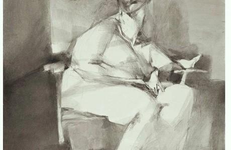 """ללא כותרת, 1983, טכניקה מעורבת על נייר, 31x47 ס""""מ"""