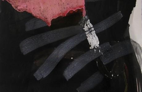 """כיפה אדומה, 2012, טכניקה מעורבת על נייר, 69x49 ס""""מ."""