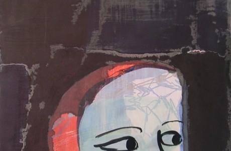 """ללא שם (עיניים גדולות), 2010, טכניקה מעורבת על נייר, 68x55 ס""""מ."""