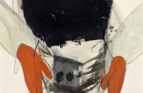 """ללא שם (כפפות כתומות), 2013, טכניקה מעורבת על נייר, 69x49 ס""""מ."""
