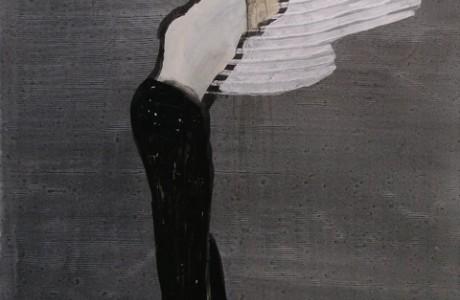 """יונתן ק. 40X43 ס""""מ, צבע תעשייתי ודיו על נייר, 2011"""