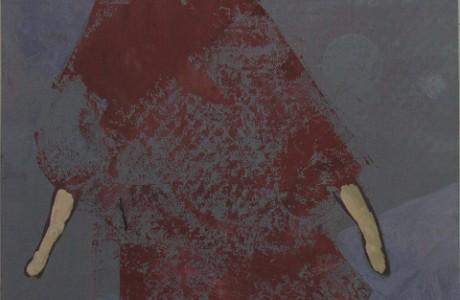 """דמדומים צפוניים, 2011, צבע שמן על הדפס רשת על נייר, 25X27 ס""""מ."""
