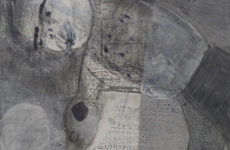 """מק, 2009, שמן פשתן, גרפיטי, דיו וצבע תעשייתי על נייר, 29X41 ס""""מ."""