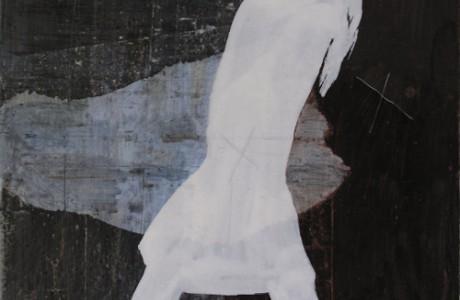 """ללא כותרת, 2011, צבע תעשייתי ודיו על נייר, 41X43 ס""""מ."""