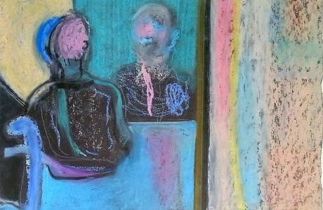 """אורי שטטנר, דמות במראה, פסטל על נייר, 25X34 ס""""מ."""