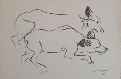 """יוסף קונסטנט, כלבים , 1967, הדפס, 25X35 ס""""מ, חתום ומתוארך בפלטה  לקטלוג"""
