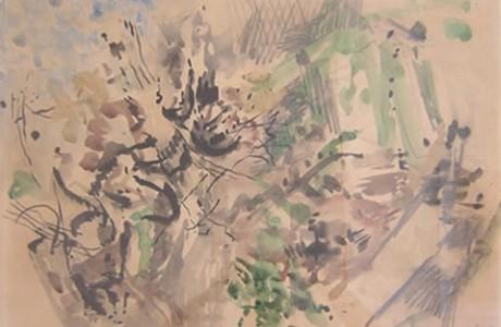"""חנה לוי, ללא כותרת, צבעי מים, 48x68  ס""""מ."""