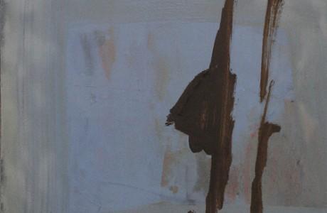 """מיכל בקי, עצוב עם עץ, 2010, צבע שמן על הדפס רשת על נייר , 24X27 ס""""מ."""
