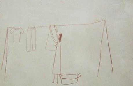 """יואב אפרתי, ללא כותרת, 2001, עיפרון על נייר, 23x22 ס""""מ."""