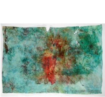 חן שפירא, ללא כותרת, טכניקה מעורבת על נייר אריזה