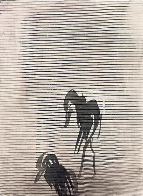"""יורדים, 74x55 ס""""מ, טכניקה מעורבת על נייר, 2012"""